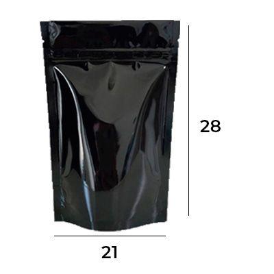 Saco Stand Up Pouch Preto com Zip  21 X 28 X 5,5