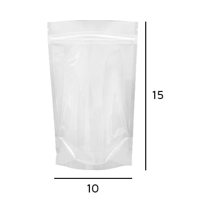 Stand up Pouch Transparente com Zip  10 x 15 x 2,5