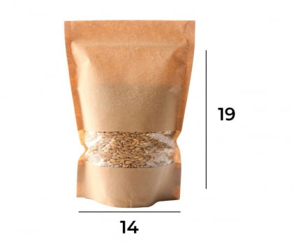 Saco Stand up Pouch Kraft com Visor Zip 14 x 19 x 3