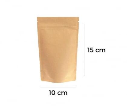 Saco Stand up Pouch Kraft com Zip   10 x 15 x 3
