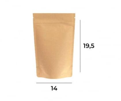 Saco Stand up Pouch Kraft com Zip   14 x 19,5 x 3