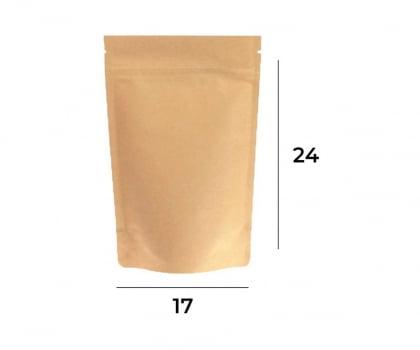 Saco Stand up Pouch Kraft com Zip   17 x 24 x 3
