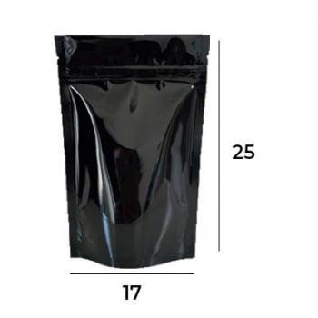 Saco Stand Up Pouch Preto com Zip  17 X 25 X 4