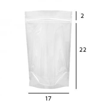 Saco Stand Up Pouch Transparente com Zip  17 x 25 x 4