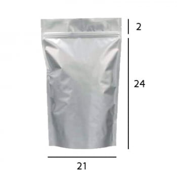Stand up Pouch Metalizado com Zip  21 x 28 x 5,5