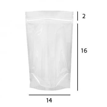 Stand up Pouch Transparente com Zip  14 x 19 x 3