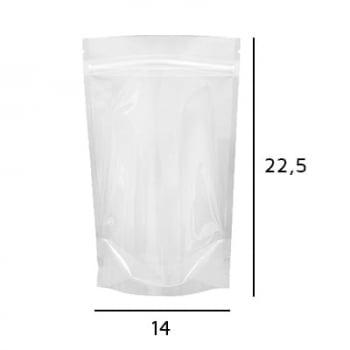 Stand up Pouch Transparente com Zip  14 x 22,5 x 3,5